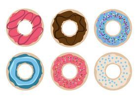 A set of six doughnuts  vector