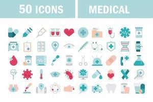 Línea de atención médica y colección de iconos de relleno. vector