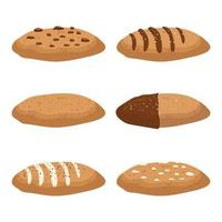 Set of tasty cookies isolated on white vector