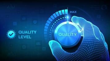 Quality level tech landing page concept  vector
