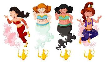 Different of genie girl magic lantern vector