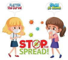 Stop spreading the coronavirus with girl wearing mask vector