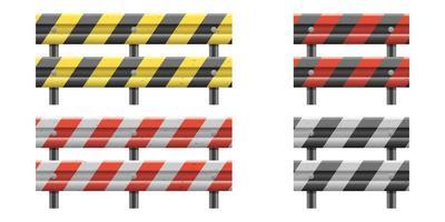 Metallic road barrier fence vector