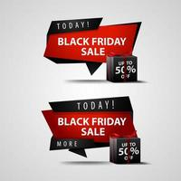 conjunto de banner de venta de viernes negro de hoy vector