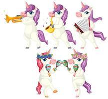 conjunto de músico unicornio vector