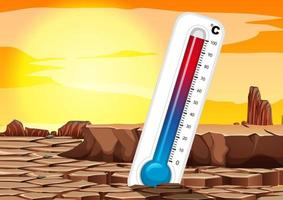 Global warming with thermometer  vector