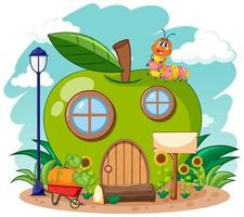 Green apple house and cute worm  vector