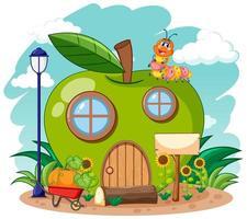 casa de manzana verde y lindo gusano vector