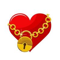 Red chained heart with gold chain and lock  vector