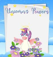 Blank paper with unicorns powers