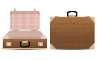 Closed and opened suitcases isolated  vector