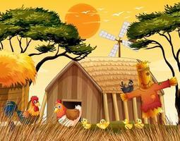 escena de la granja en la naturaleza con granero vector