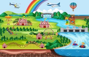 parque de atracciones con arcoiris vector
