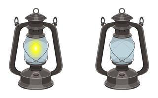 Retro oil lamp vector