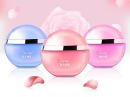 elegantes frascos de perfume para mulheres vetor