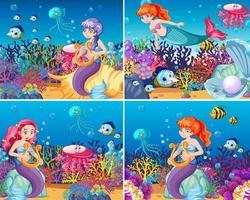 Set of cute mermaid scenes