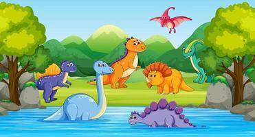 dinosaurios en escena de madera con río. vector