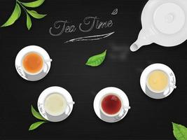 vista superior tazas de té