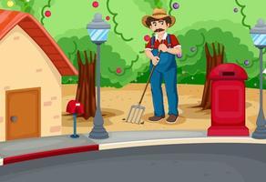 un hombre rastrillando el suelo cerca de la carretera