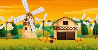escena de la granja en la naturaleza vector