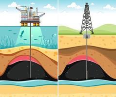 perforación de pozos de petróleo a través de la tierra vector
