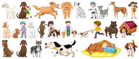 conjunto de perros lindos vector