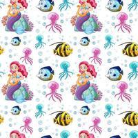 animales marinos sin costura y sirena vector