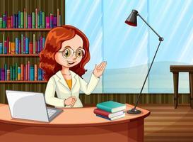 mujer trabajando desde casa vector