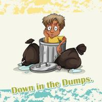 Idiom down in the dumps vector