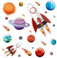 conjunto de planetas y espacio de galaxia colorido