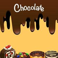 Different dessert with chocolate vector