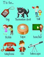 Words begin with letter T vector
