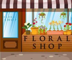 tienda floral con hermosas flores vector