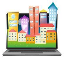 Urban city on computer screen desktop