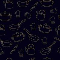 artículos de cocina de patrones sin fisuras vector