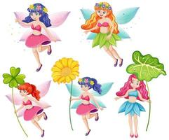 Set of cute fairies holding a flowers vector