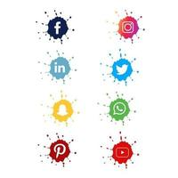 Splash Social Media Icon Set vector