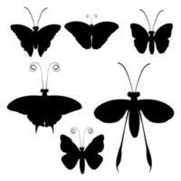 conjunto de siluetas de mariposa negra