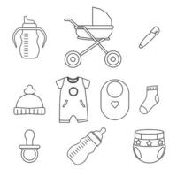 Baby items, outline icon set vector