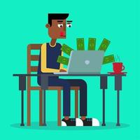 Man making money, working on his laptop vector