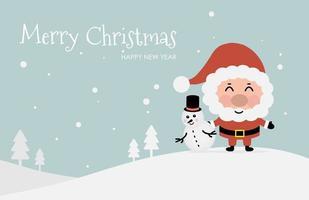 diseño navideño con santa claus y muñeco de nieve vector