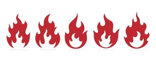 Flames icons set vector
