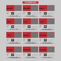calendario 2021 con 12 meses vector