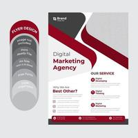Red, white and gray flyer design vector