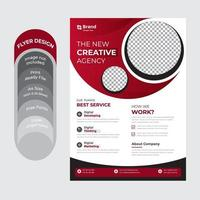 Red and white circular corporate business flyer vector