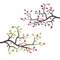 Fall tree branch set vector