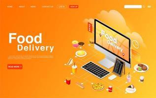 Food Order and Delivery on Computer Desktop Design