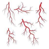 conjunto de iconos de arterias y venas humanas vector