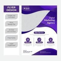 Purple fluid shape business flyer vector