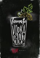 Bloody mary cocktail chalk color poster vector